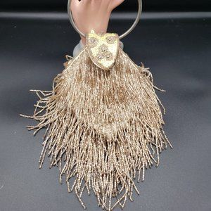 Champagne colored bead Art Deco style evening bag